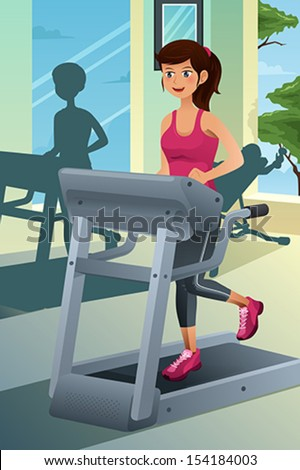 A vector illustration of a young beautiful woman running on a treadmill in a gym - stock vector