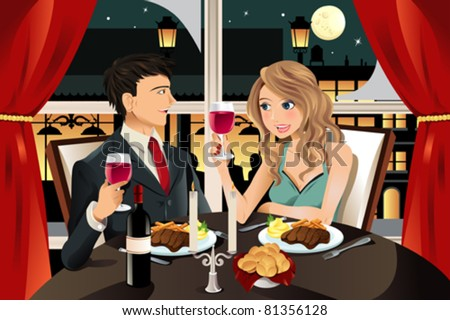 A vector illustration of a young couple having dinner at an upscale restaurant - stock vector