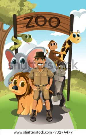 A vector illustration of a zookeeper and wild animals in the zoo - stock vector