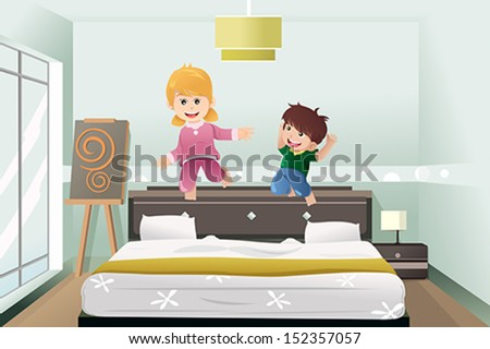 A vector illustration of active kids jumping on the bed - stock vector