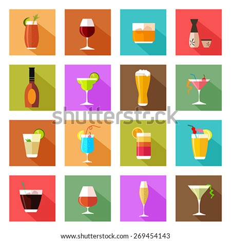A vector illustration of alcohol drink glasses icons - stock vector