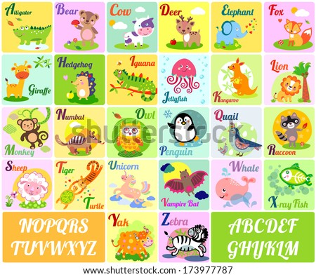 A vector illustration of alphabet animals from A to Z - stock vector