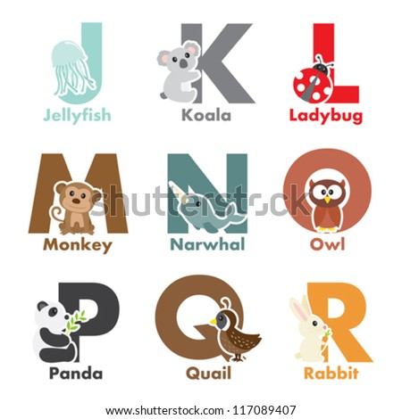 A vector illustration of alphabet animals from J to R - stock vector