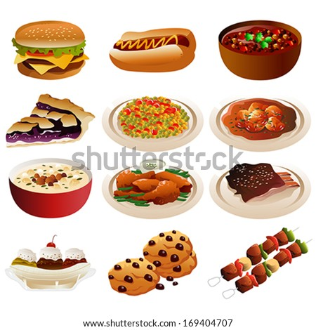 A vector illustration of American food icons - stock vector
