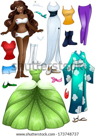 A vector illustration of an african girl template outfit and accessories dress up pack.  - stock vector