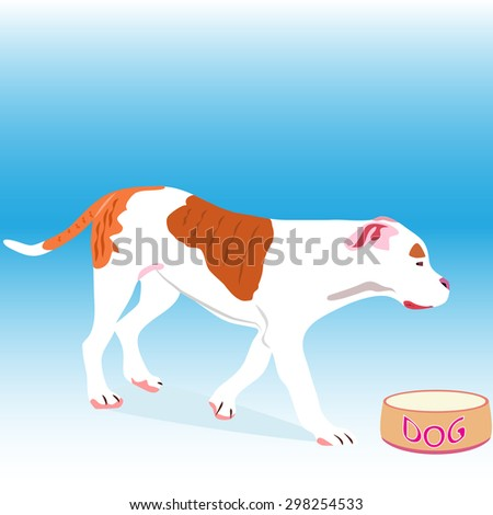 a vector illustration of an american bulldog puppy walking towards a dish  - stock vector