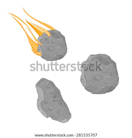 A vector illustration of an asteroid and meteorite. Falling Meteorite with asteroid icon illustration. Rocks from space orbiting and falling. - stock vector