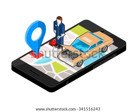 A vector illustration of an auto repair shop locater. Icon illustration of a repair garage with mechanic on Mobile phone. Wireless device with locater map app device. - stock vector