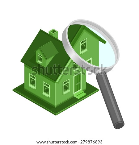 A vector illustration of an ECO friendly house being examined. Isometric Eco Friendly House inspection. Environmentally friendly home concept colored in green. - stock vector
