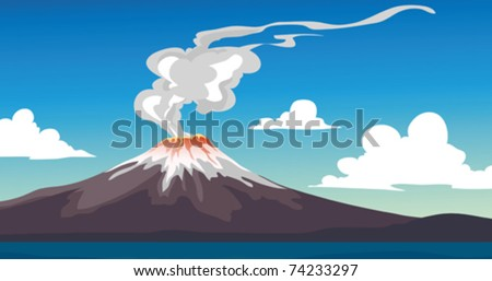 A Vector illustration of an erupting Volcano - stock vector
