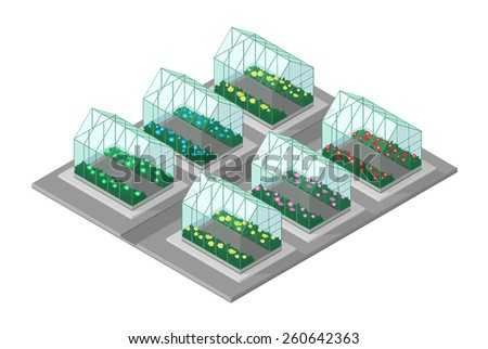 A vector illustration of an Isometric garden center. Isometric Garden Center. several greenhouses growing different plants. - stock vector