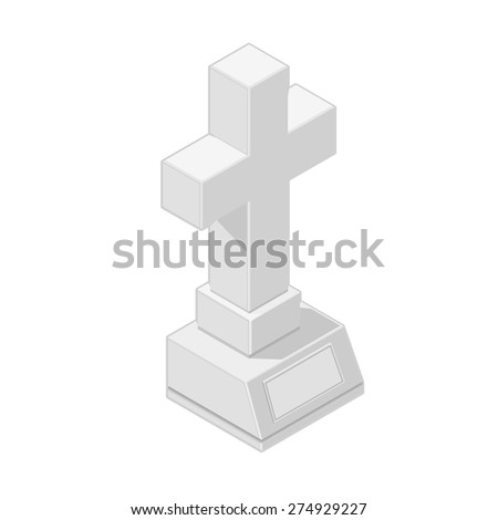 A vector illustration of an isometric grave. Isometric gravestone Icon. Christian crucifix burial icon. - stock vector