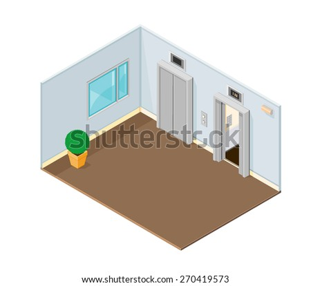 A vector illustration of an office or hotel elevators. Elevator. Isometric lift or Elevator. - stock vector