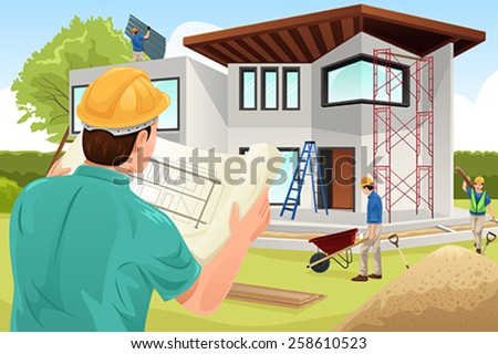 A vector illustration of architect working at the construction site - stock vector