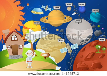 A vector illustration of astronaut and planet system - stock vector