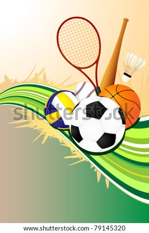 A vector illustration of ball sports background - stock vector