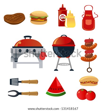 A vector illustration of barbeque icon sets - stock vector