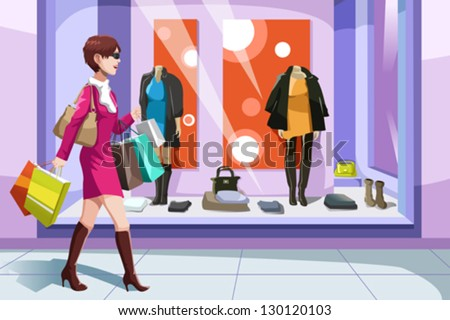 A vector illustration of beautiful girl with shopping bags - stock vector