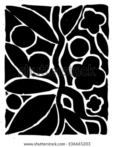 A vector illustration of black & white floral background. - stock vector