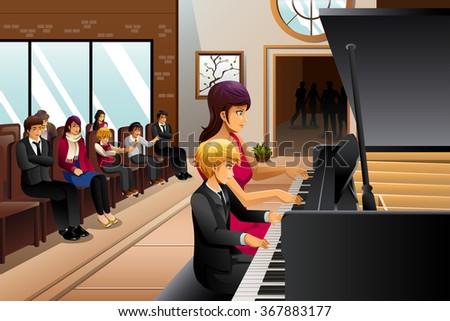 A vector illustration of boy in piano recital with his teacher - stock vector
