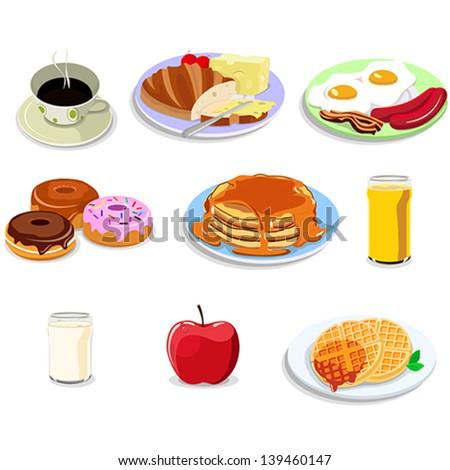 A vector illustration of breakfast food illustration icon sets - stock vector
