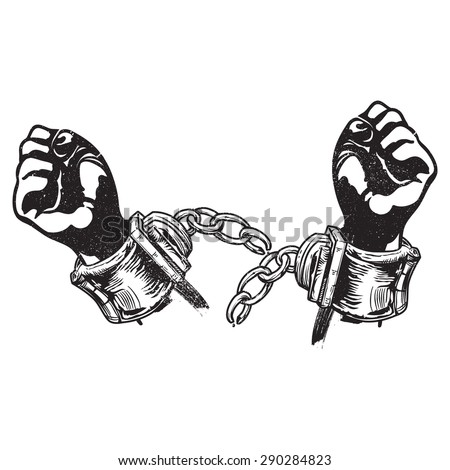 A vector illustration of broken handcuffs for freedom. Freedom. Freed from restrain or capture - stock vector