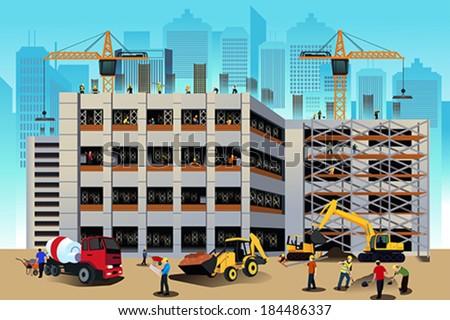 A vector illustration of building construction scene - stock vector
