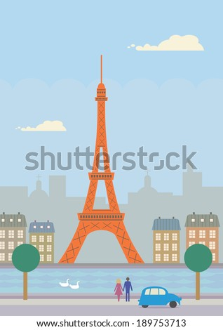 A vector illustration of buildings in Paris, France. - stock vector