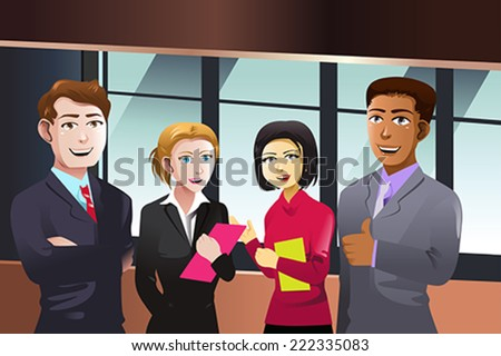 A vector illustration of business people - stock vector
