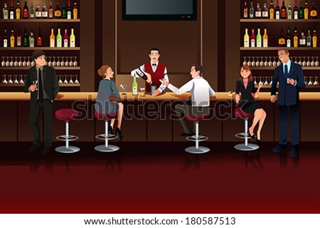 A vector illustration of Business people hanging out in a bar after work - stock vector