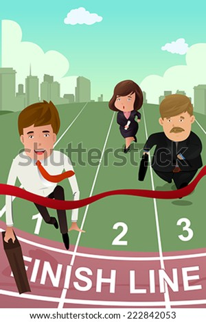A vector illustration of business people running in competition - stock vector