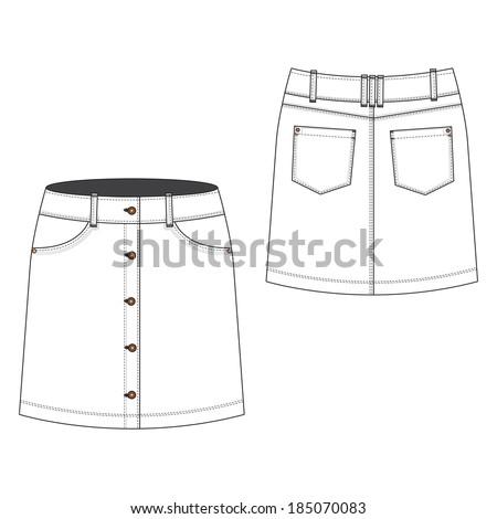 A vector illustration of Button Through Skirt - stock vector