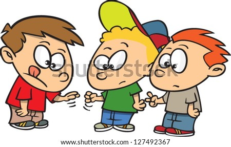 A vector illustration of cartoon boys playing rock paper scissors - stock vector