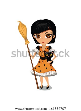 A vector illustration of cartoon girl dressed in a witch costume for Halloween - stock vector