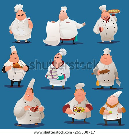 A vector illustration of Chef  characters - stock vector