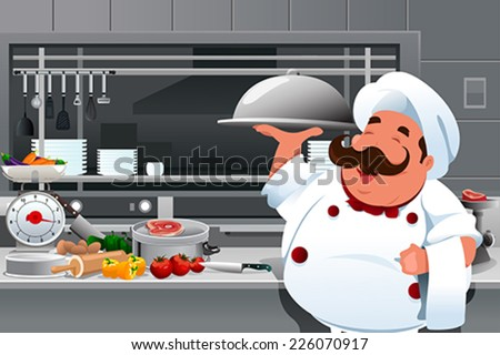 A vector illustration of chef holding a plate of food in the kitchen - stock vector
