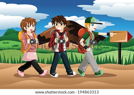 A vector illustration of children carrying camera and backpack going on an adventure - stock vector
