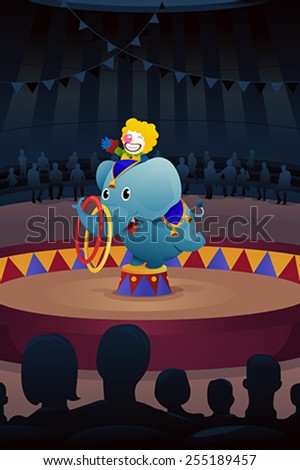 A vector illustration of circus performance - stock vector