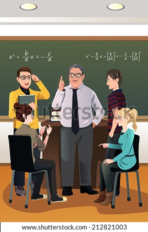 A vector illustration of college students having a discussion with their professor in the classroom - stock vector