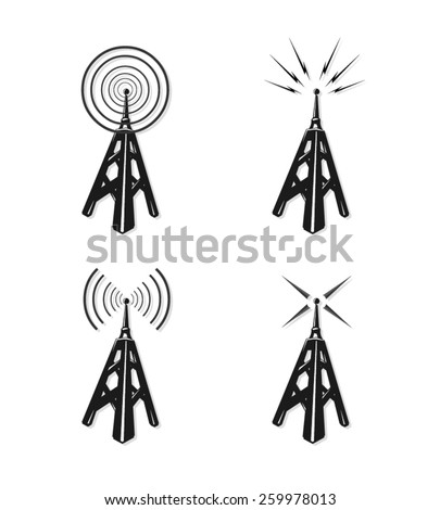 A vector illustration of communication radio towers. Radio communication towers. Vintage Radio communications and broadcast. - stock vector