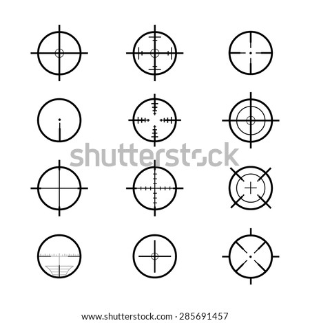 A vector illustration of cross hair sights. Crosshair icons and illustration. weapon sights. - stock vector
