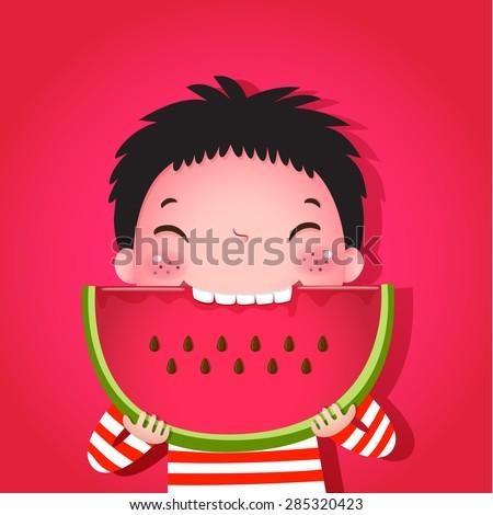 A vector illustration of cute boy eating watermelon - stock vector