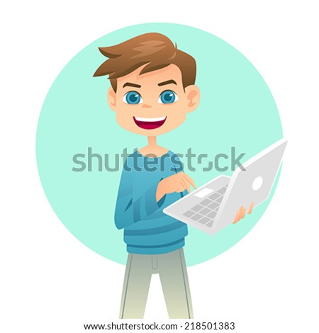 A vector illustration of cute boy holding a laptop - stock vector