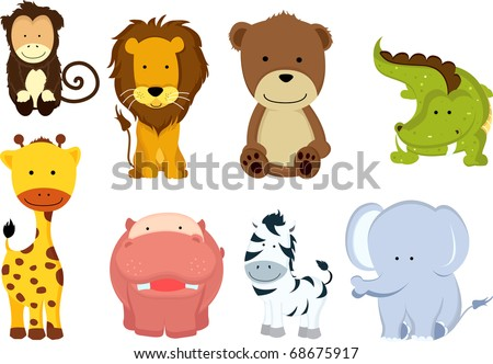 A vector illustration of different wild animals cartoons - stock vector