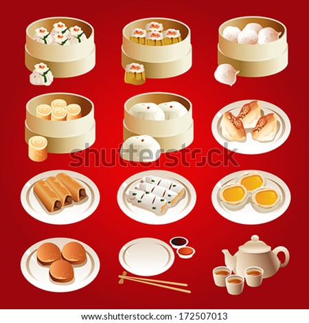 A vector illustration of dim sum icon sets - stock vector