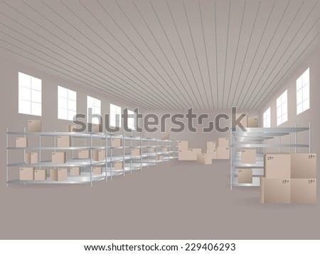 A vector illustration of distribution warehouse - stock vector