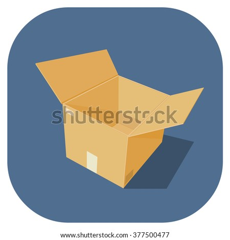 A vector illustration of empty cardboard box Icon.  Protection, safety and packing material for the transporting goods and merchandise. Empty cardboard Storage box with flaps open. - stock vector