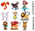 A vector illustration of fairy tale icon sets - stock vector
