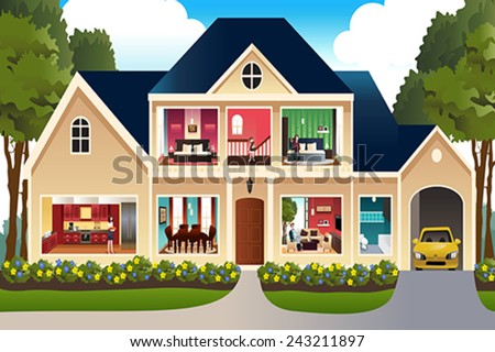 A vector illustration of family at home - stock vector