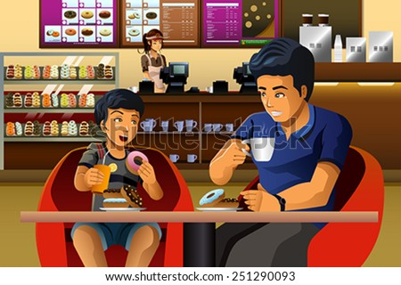 A vector illustration of father and son eating breakfast in a donuts shop - stock vector